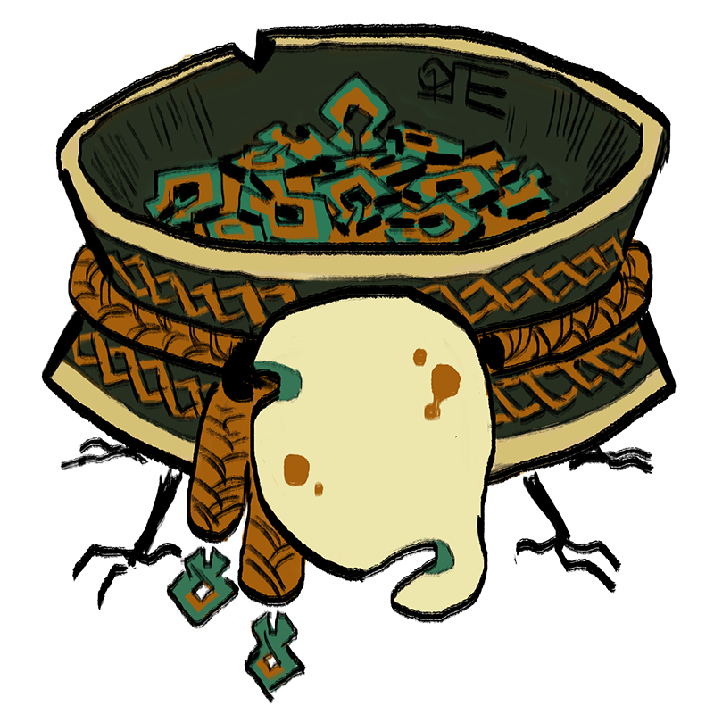 A diminutive pakaquoia. Its body is an alms pot with four little feet sticking out, and its mask is blank but for a few notches and red stains.