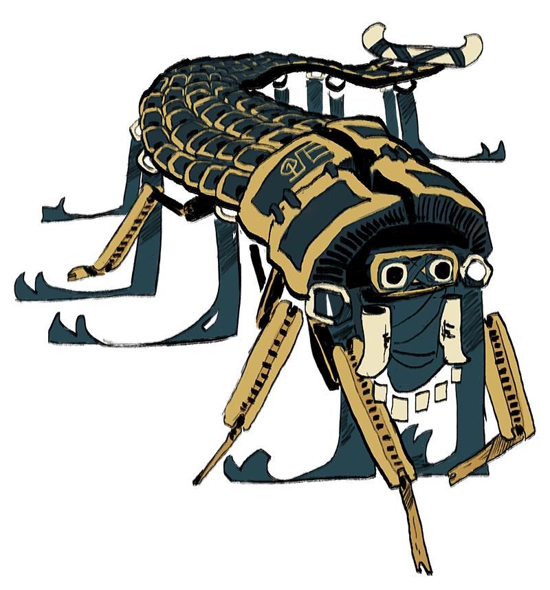 A pakaquoia with many legs. Its carapace is made of bits of lamellar, and its mask is little more than some snow goggles and a bandana.