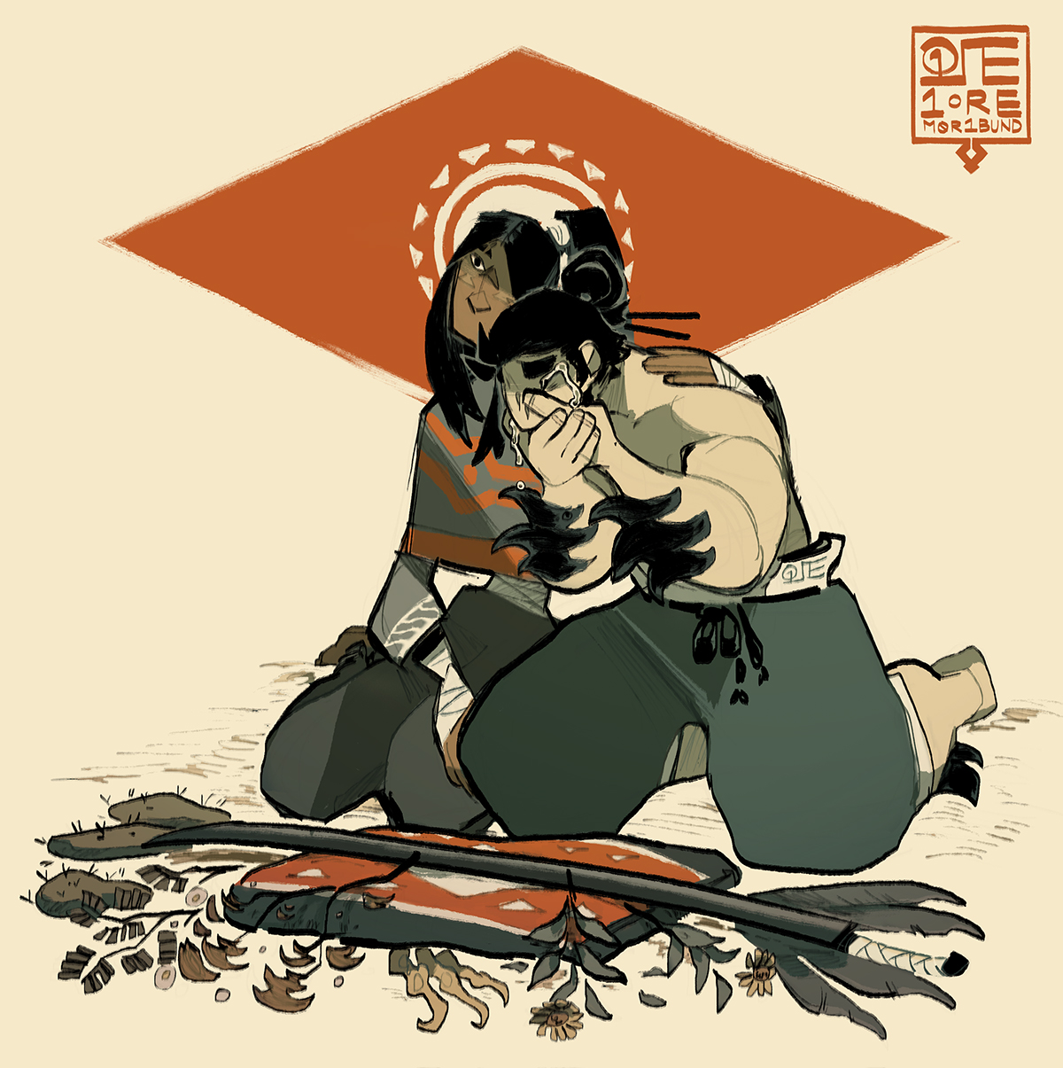 Sadren and Hei grieving at the foot of a makeshift shrine. Lain out before them are nopales, vulture feathers, sprigs of mesquite, creosote, and brittlebush, and Dai Hei's family sword.