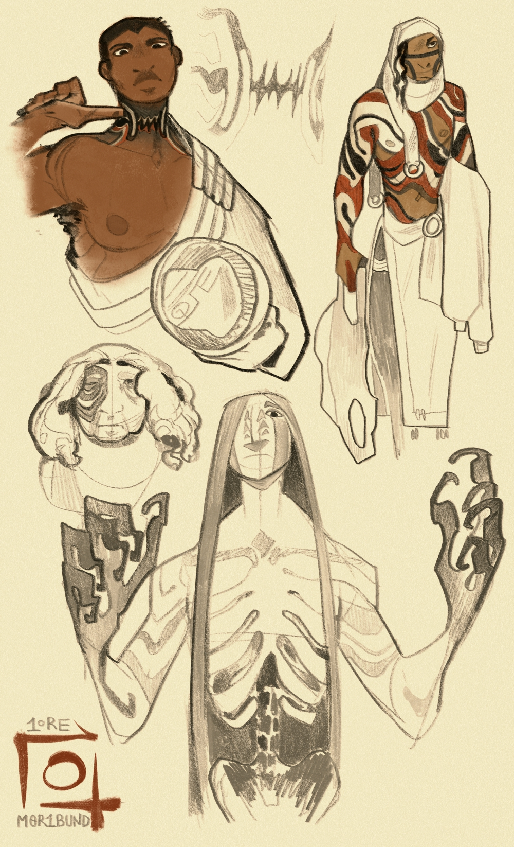 Many sketches of the various mun carried by different Sauntiaq. Rayet traces the jagged, teeth-like mun around her neck, which became the emblem used by the Free Companies. Deputy Kabinai has full-body mun which wind like ropes around them. One individual is missing their right eye, where black scars emanate from the wound. The god from the disease himself makes an appearance, with mun styled like tear streaks down his cheeks, as well as various scars winding in and out of his exposed ribcage and talon-like fingers.