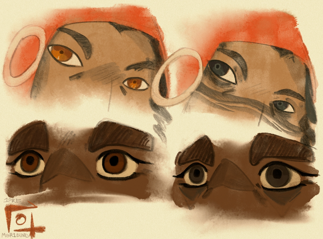 A comparison between two Sauntiaq's eyes, before and after becoming Sauntiaq. Deputy Kabinai had bright chestnut eyes in their past life, where Morgan had rich, dark brown eyes. Both turned sooty black after death.