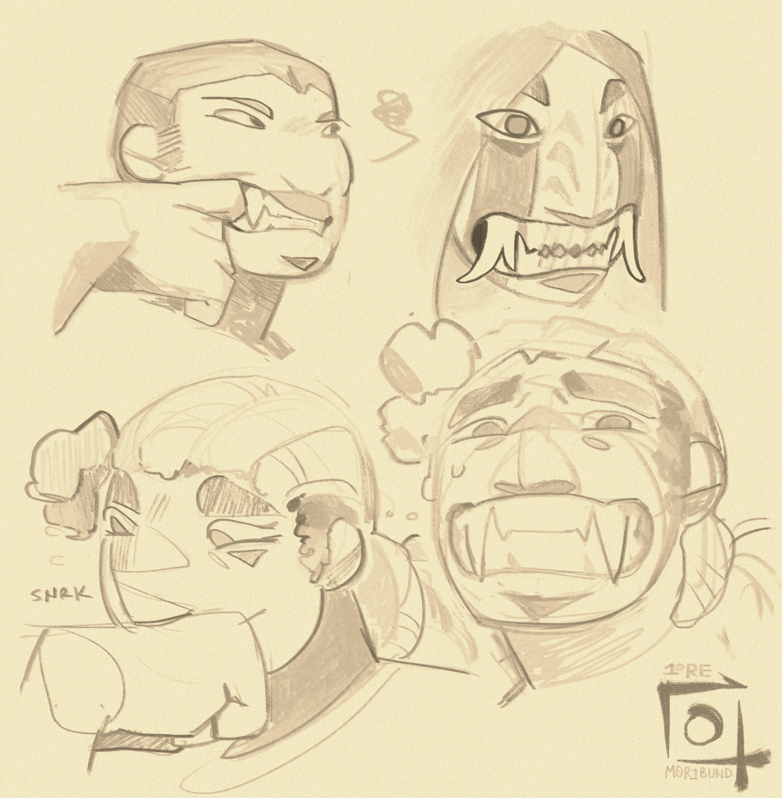 A few sketches of various Sauntiaq and their teeth. Rayet has relatively small canines, where the god from the disease has large, dramatic, two-pronged fangs. With some convincing, Morgan also shows his chompers, revealing particularly large lower canines.