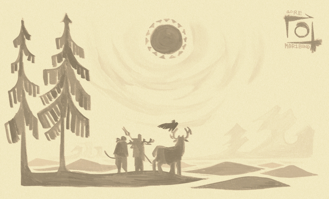 A vista of the ash tundra, after the storm lifted. It shows a clear sky and a visible sun, with the horizon sprawling out before the viewer. Ashe, Morgan, and the Caribou God pause to take in the view beneath a stand of black pines.