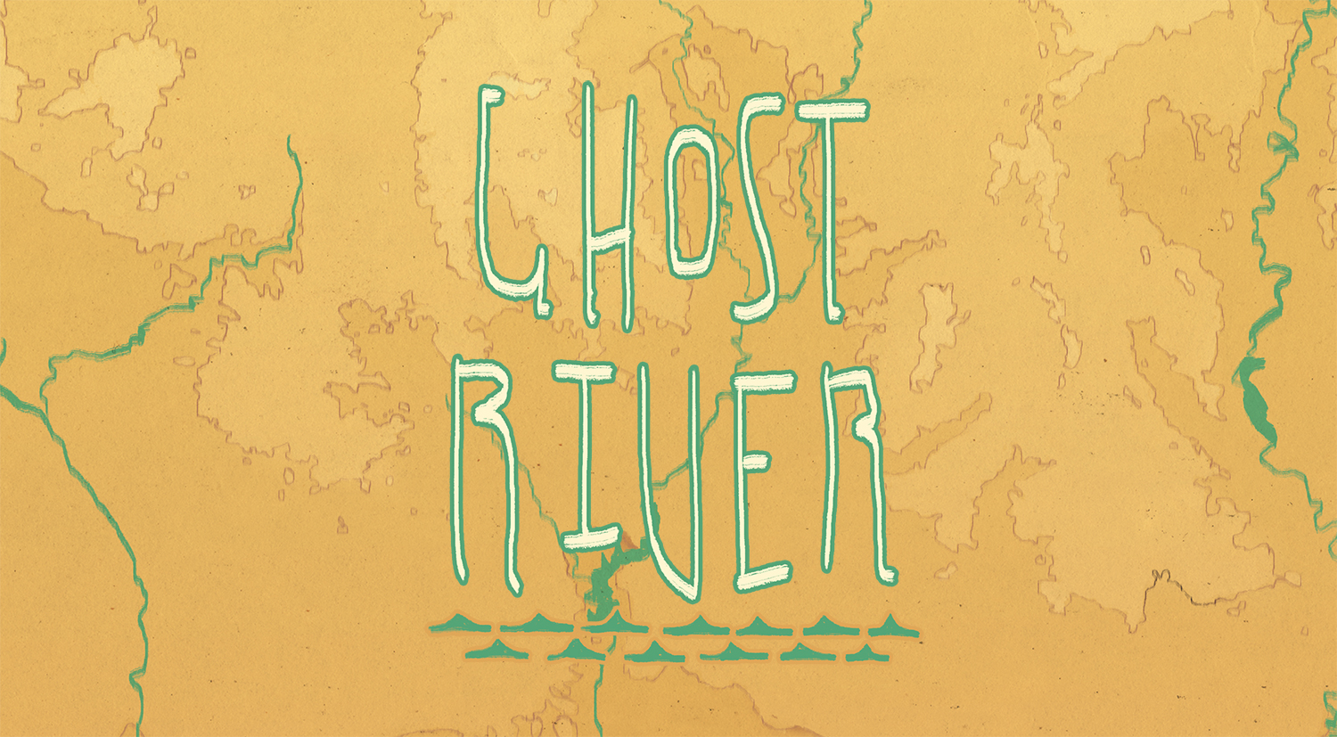 The Ghost River logo. It's overlaid onto a map of the Salt River watershed.