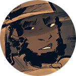 Dev. He's sort of gruff looking, with a big curly beard and wide-brimmed ranger hat.