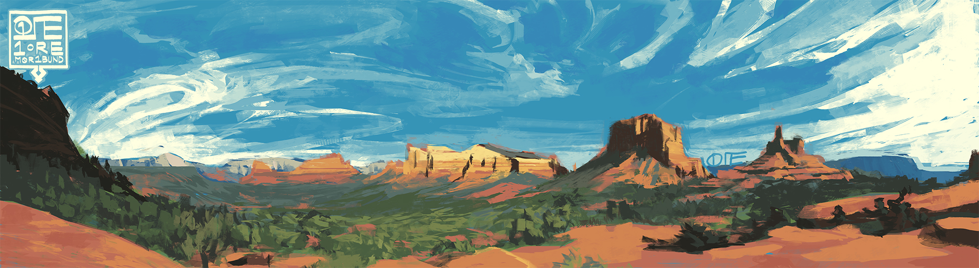 A vista of Sedona, including Courthouse Butte and Bell Rock.