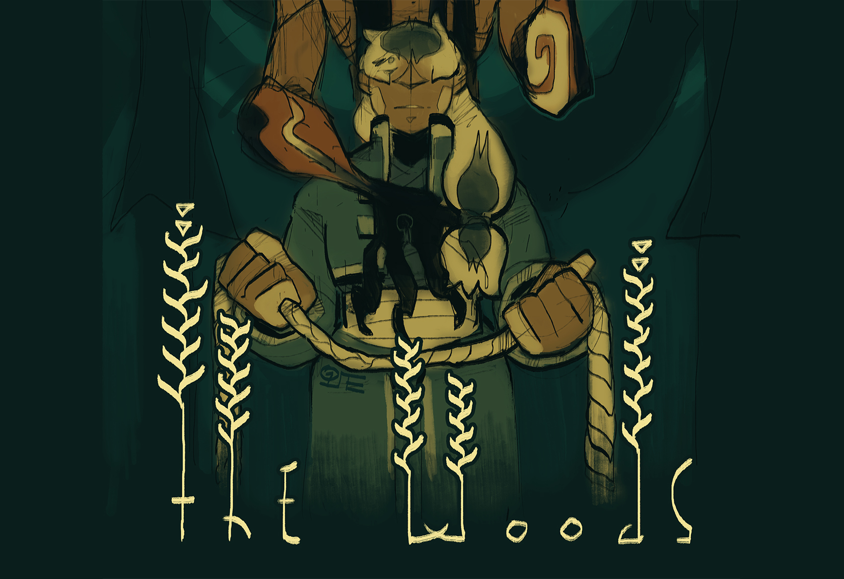 Cover art for The Woods; It depicts the dour old priest Makame, in the arms of the great beast of all men.