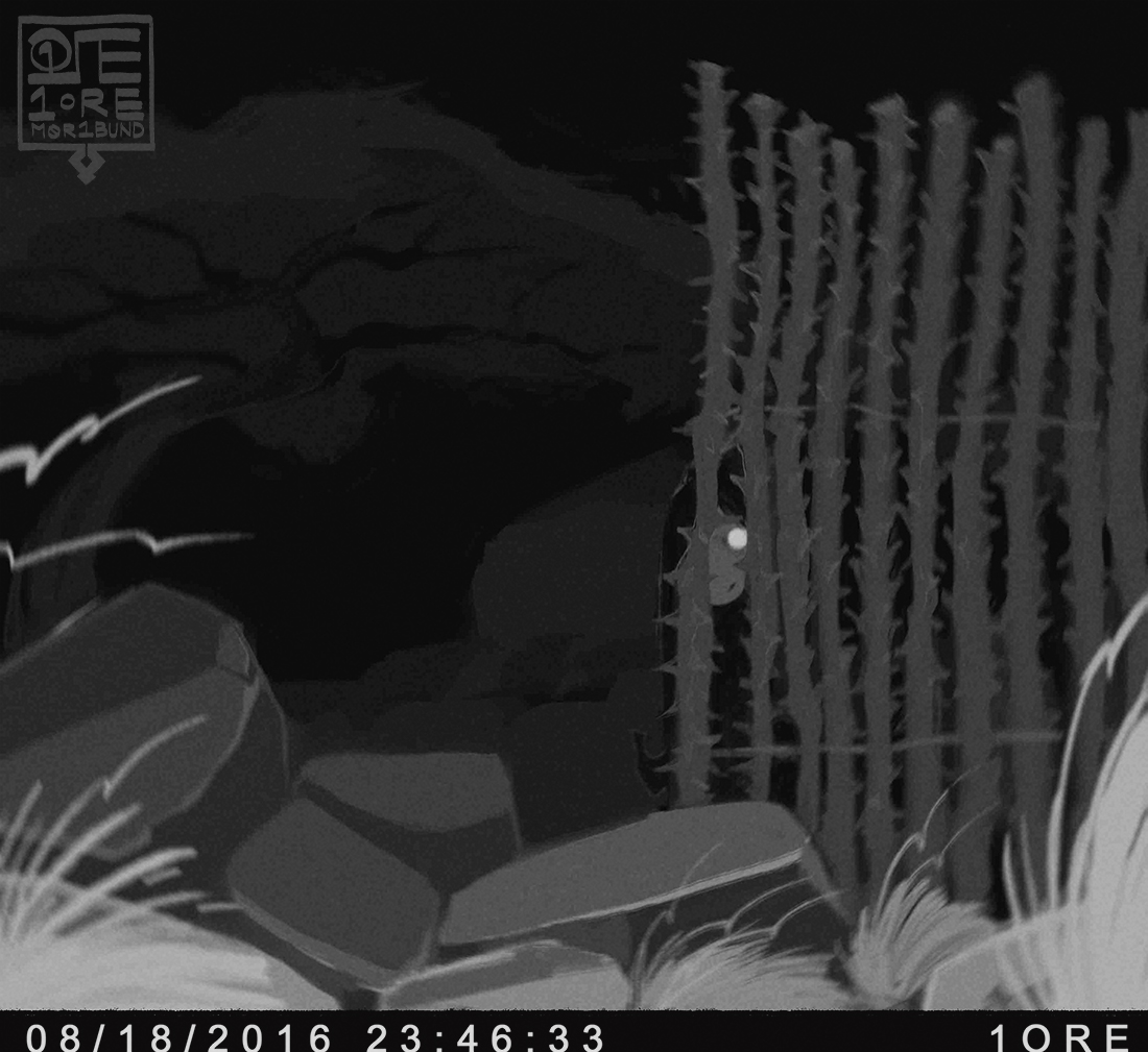 A faux trailcam capture of Diaspore, who is obscured by an ocotillo fence.