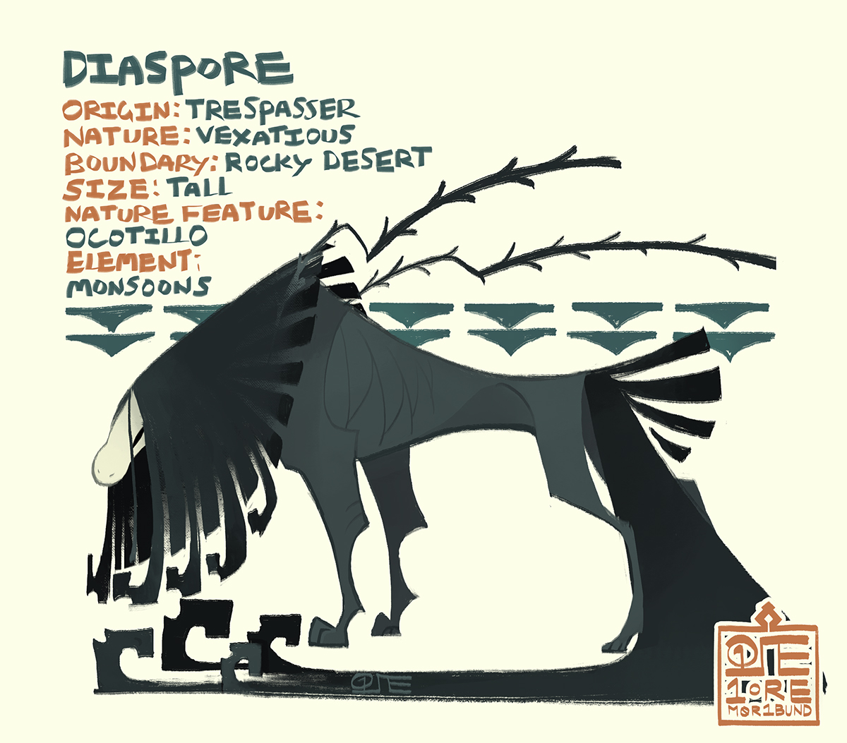 A reference sheet for Diaspore. She's a lanky esk with wild, radially patterned hair, and is all black but for her white mask. Two dry stems of ocotillo trail behind her from the nook between her collar and shoulderblades.