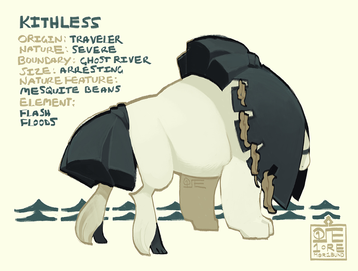 Kithless. She's a powerfully built esk on broad paws and tufted hindlegs, with her tail and mane tied into loose ponytails. The rest of her hair droops over her face, mesquite beans threaded throughout.