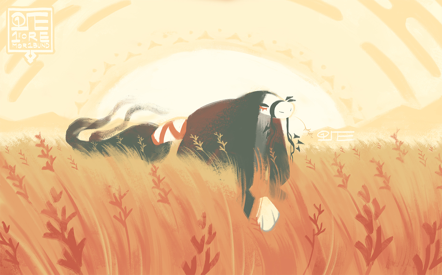 """The esk Ora, out on the Agua Fria National Monument. She steps gingerly through a golden field of tobosa grass (Pleuraphis mutica), and has plucked a single seedhead to """"chew on"""" for the journey."""