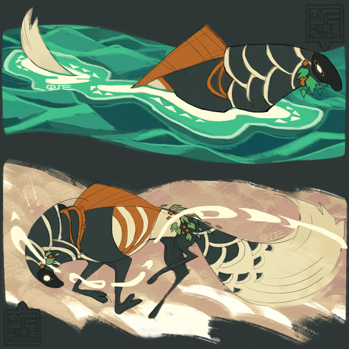 Two depictions of Rhodes' enchantment. The first details the wake-like lines that flow around her when she's swimming, and the second depicts them when they follow her onto land-- trailing off her body just as they would in the water.