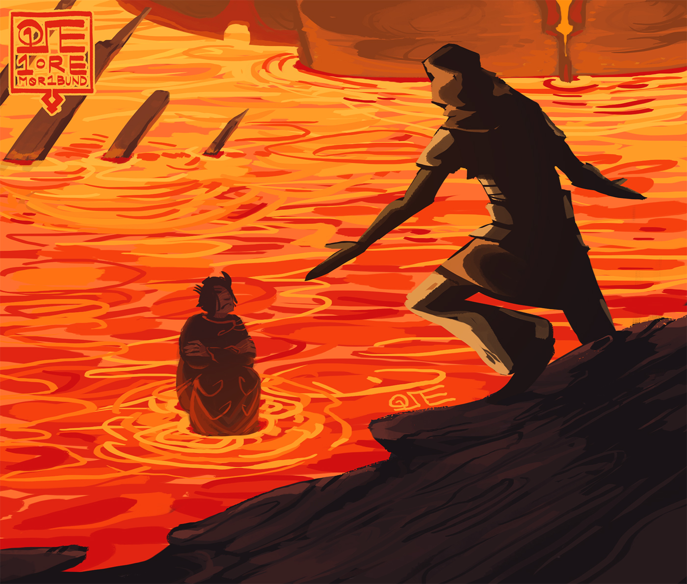 Samalkan sits with his arms crossed in the lava seas of the Deadlands, to thwart a questing adventurer.